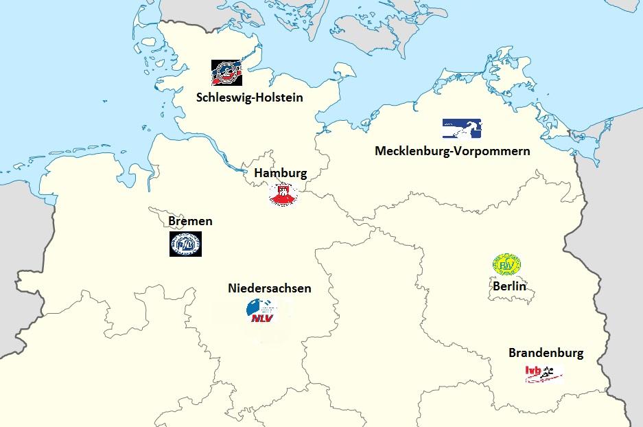 Norddeutsche Meisterschaften Informationen - Karte NDM Teilnahmeländer